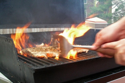 photo of fish on fire on grill