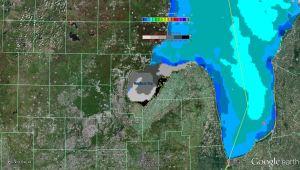 great lakes saginaw bay ice cover 2013 google earth
