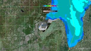 great lakes saginaw bay ice cover 2013 google earth