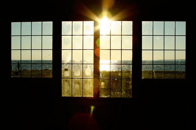 sunset through windows