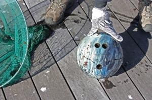 bowling ball marine beach debris