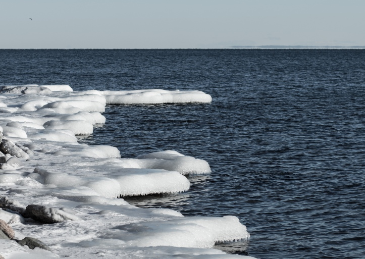 icy shore lakewalk duluth great lakes ice