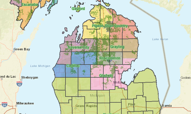 michigan department of natural resources state forest map GIS