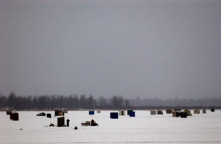 fishing shanties, ice, michigan, great lakes